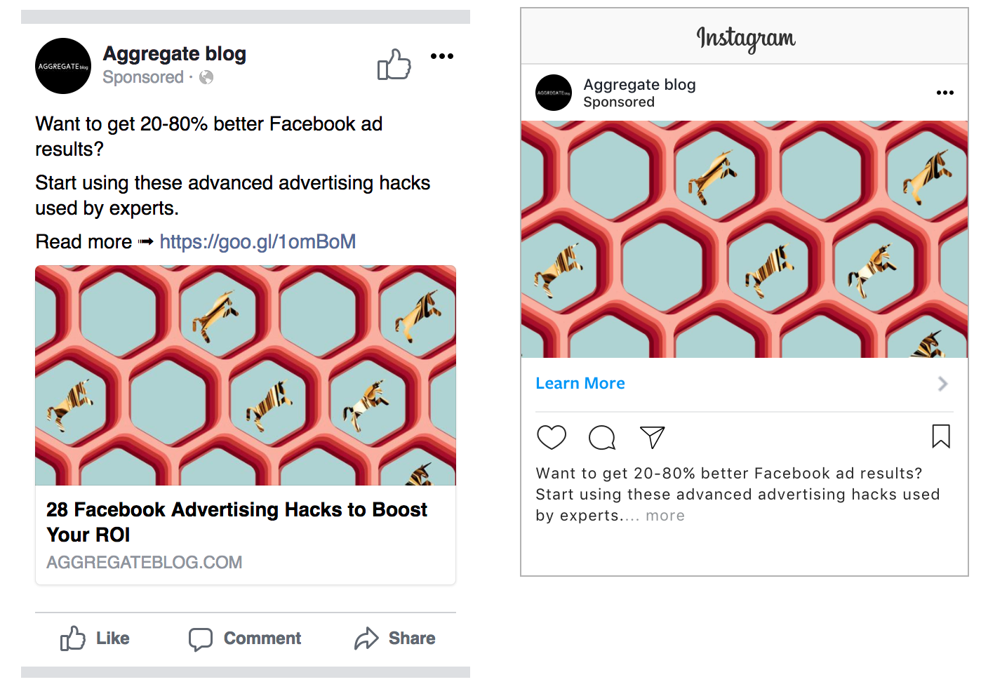 facebook vs. Instagram ad