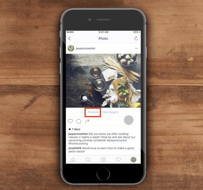 Promote Instagram posts in-app