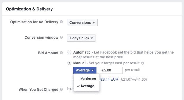 Facebook Maximum or Average bid