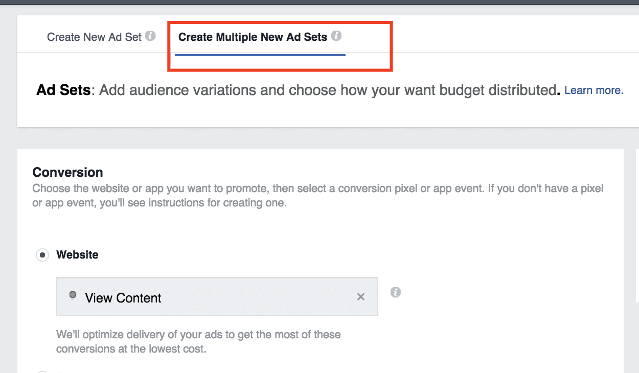 Facebook split testing feature