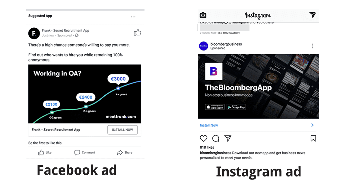app install ads in Facebook and Instagram