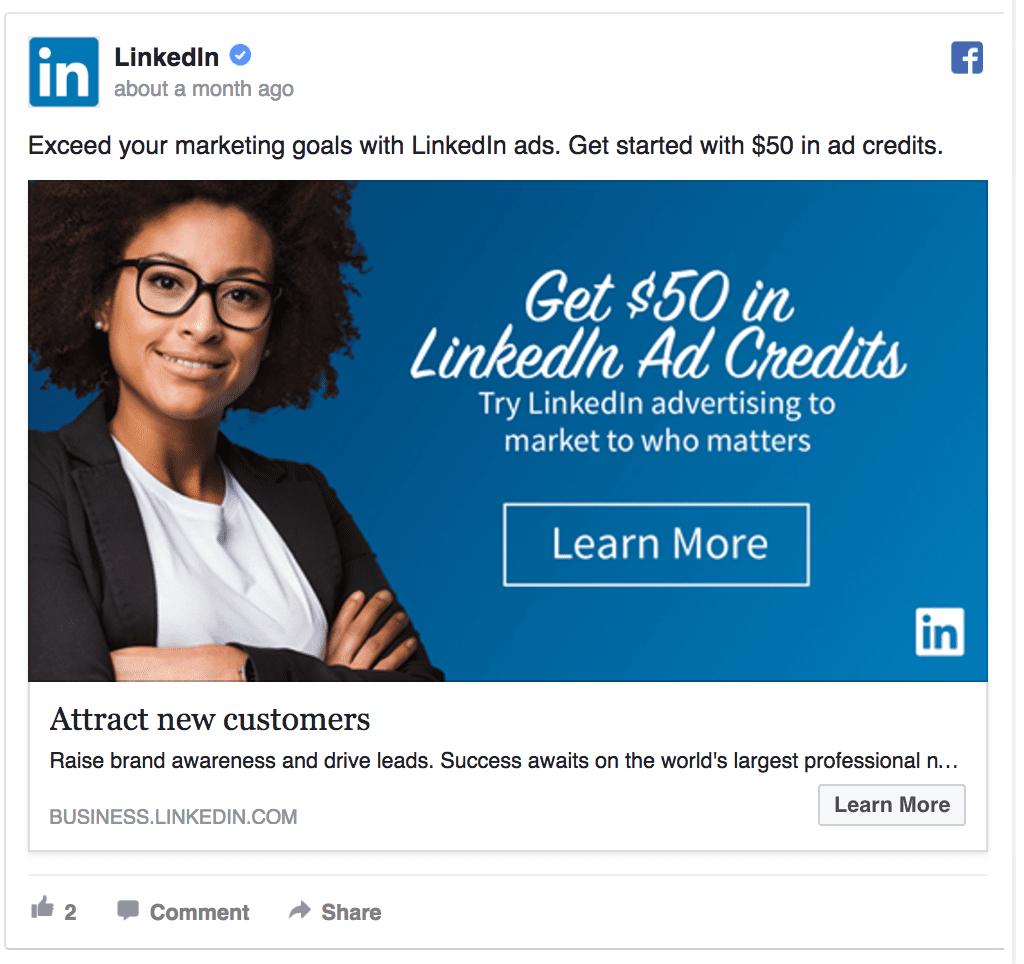 LinkedIn's Facebook ad