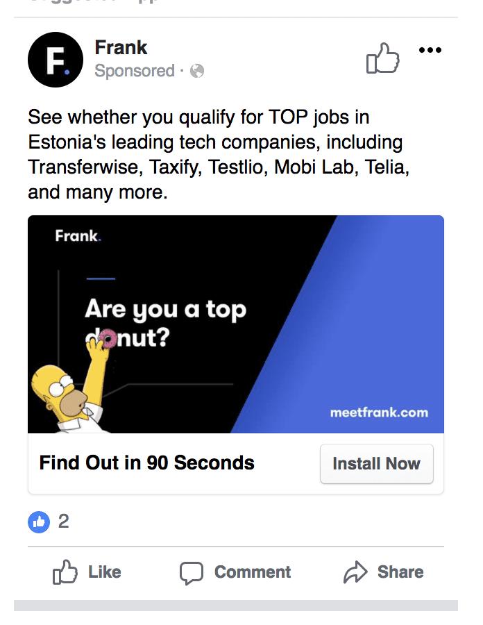 facebook app install ad example