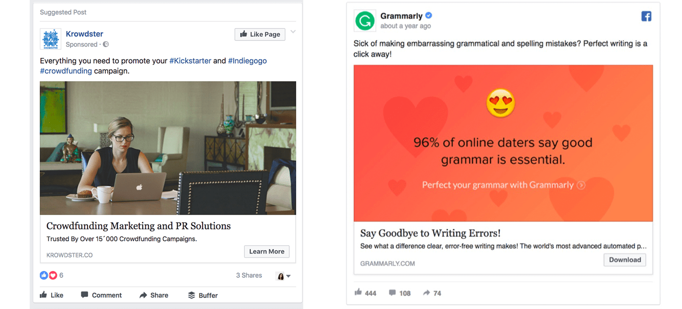Facebook ads using stock photos