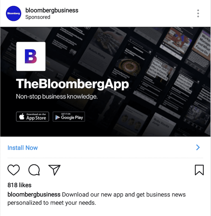 example of app install ad campaign