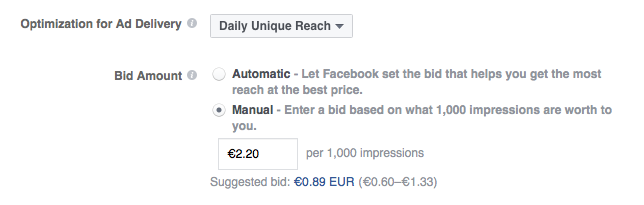 suggested bid by facebook