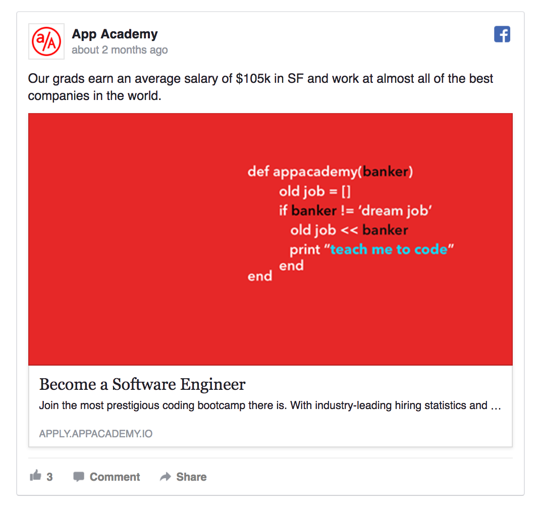 facebook ad example by app academy