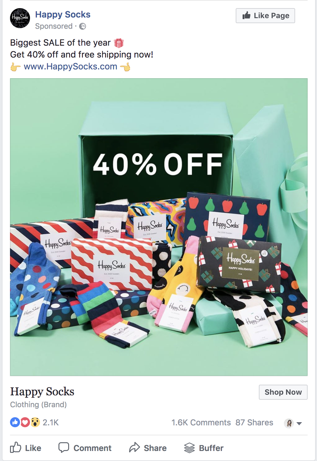 facebook ad example by happy socks
