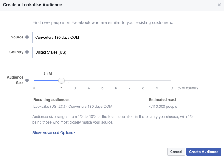 create a lookalike audience on facebook