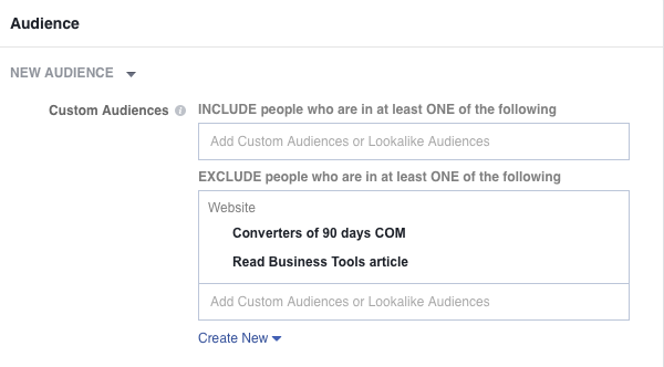exclude feature in custom audiences