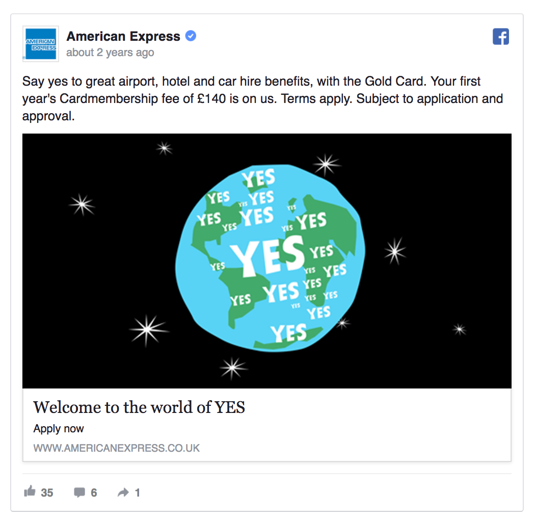 facebook ad image example by american express