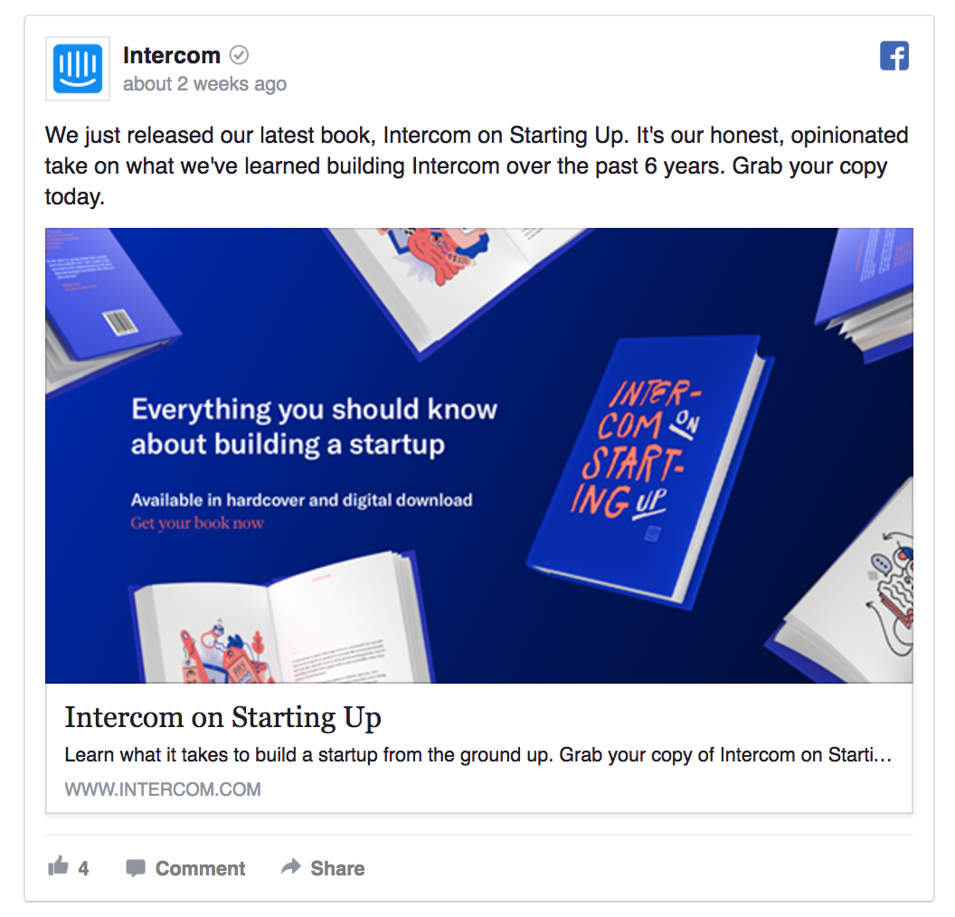 facebook post example by intercom