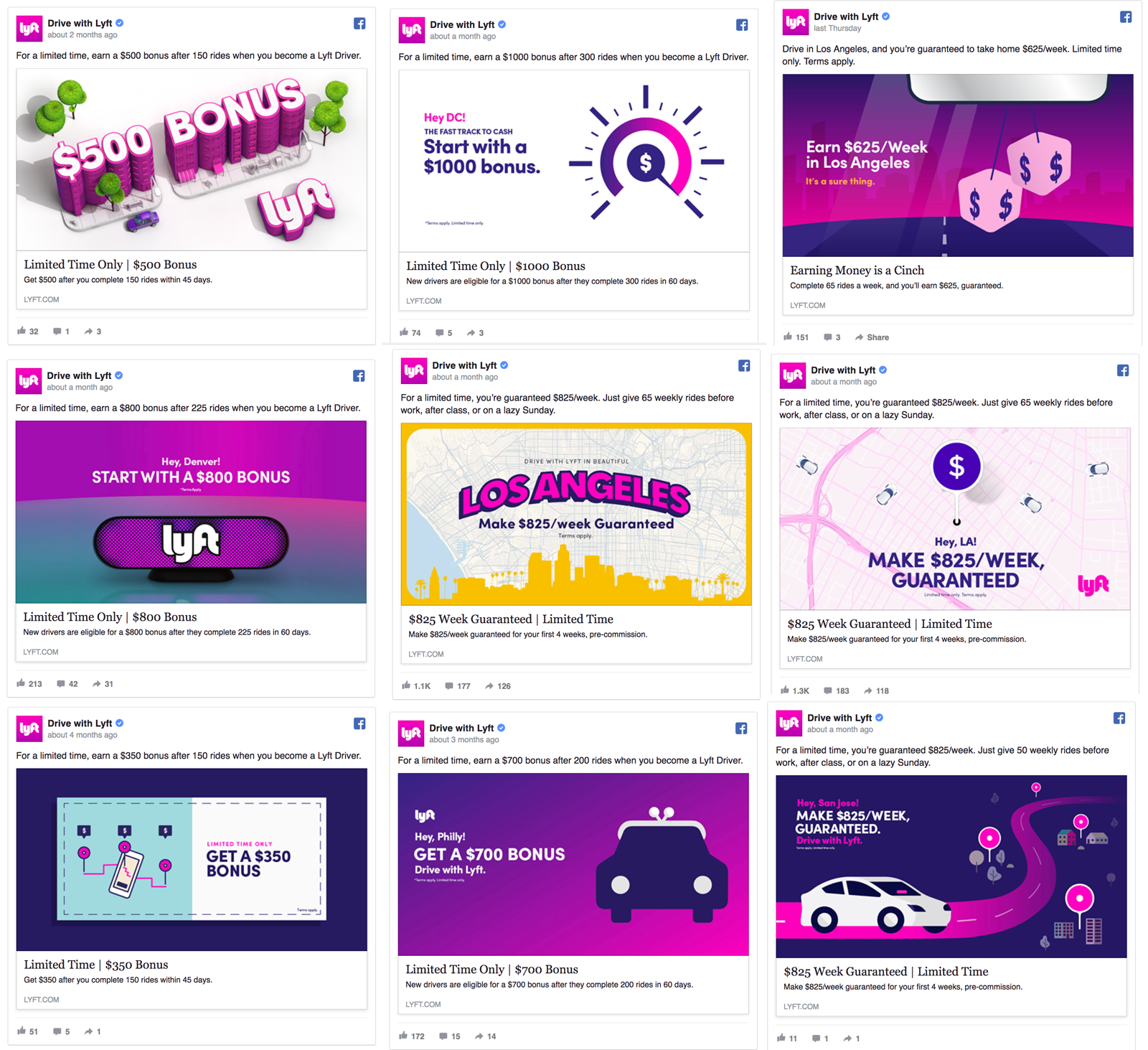 lyft is using different facebook ads
