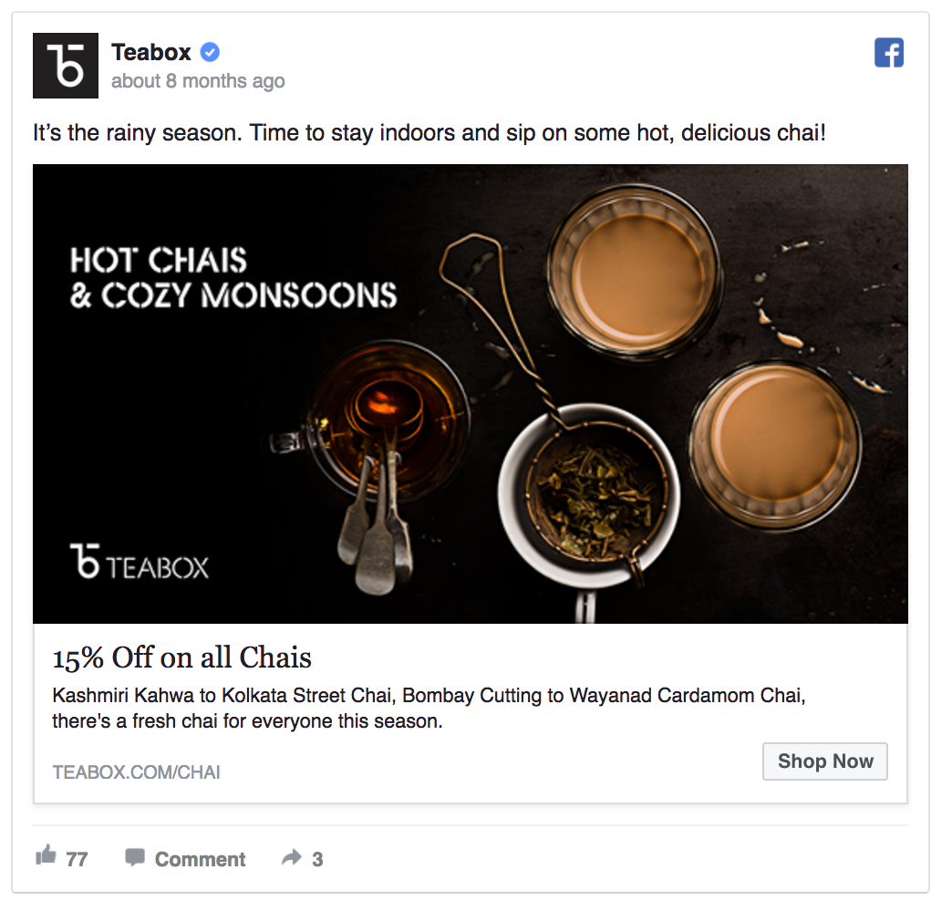 teabox facebook ad example