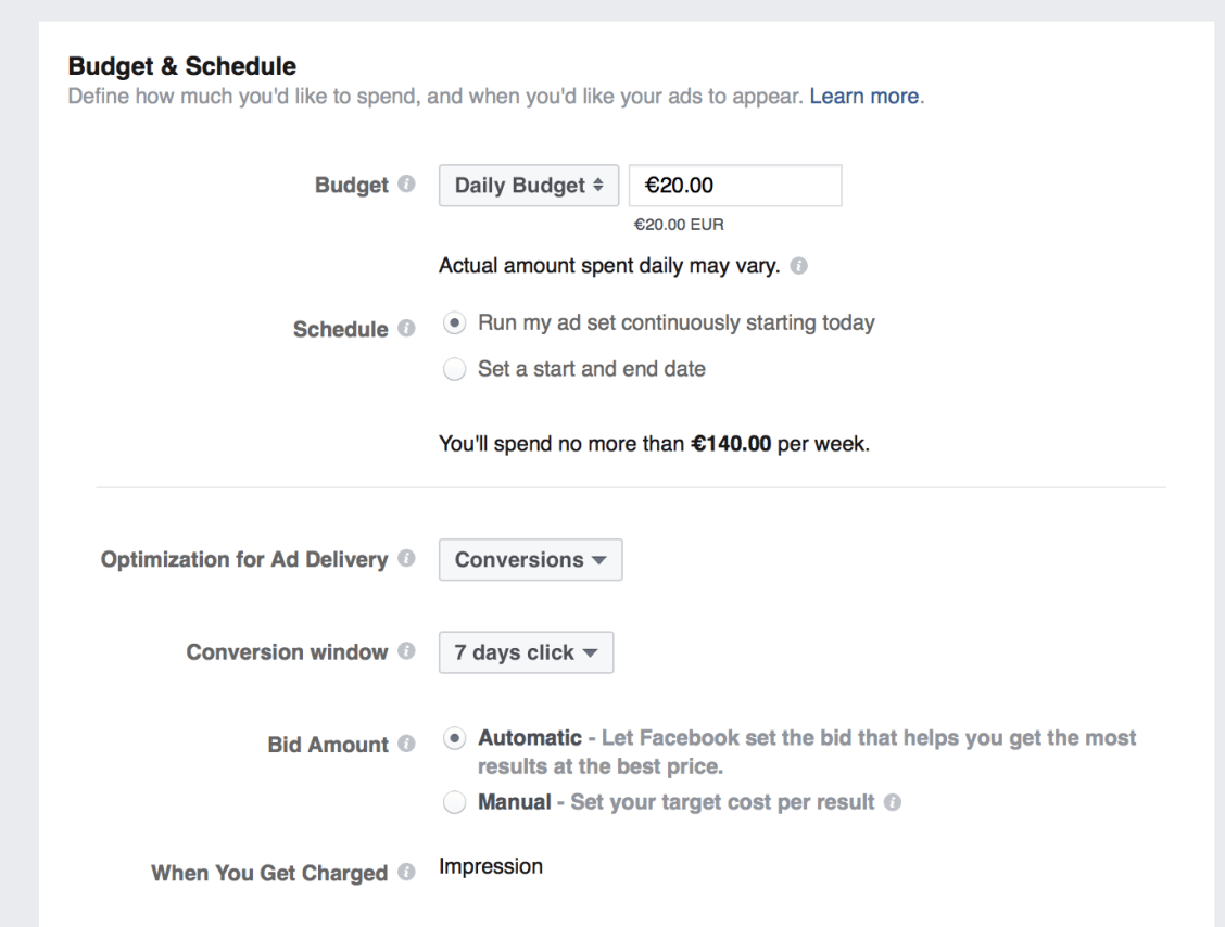 facebook ads budget and schedule section