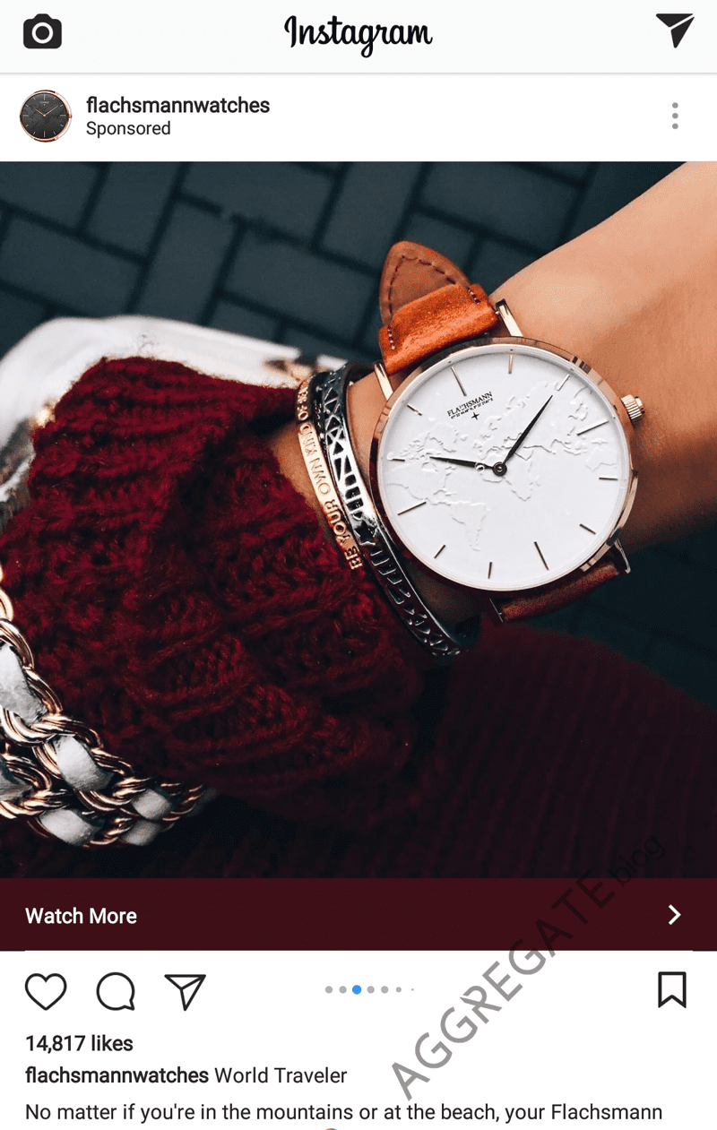 Flachsmann Watches instagram ad example