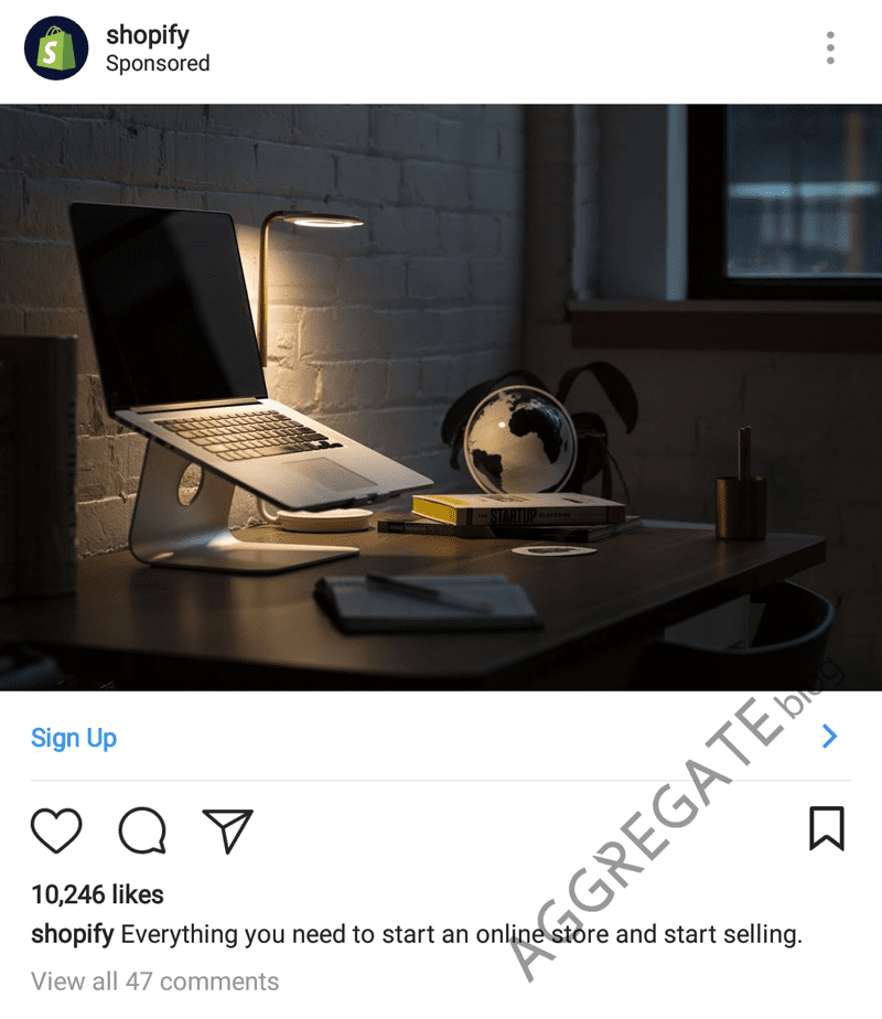 Shopify instagram ad example
