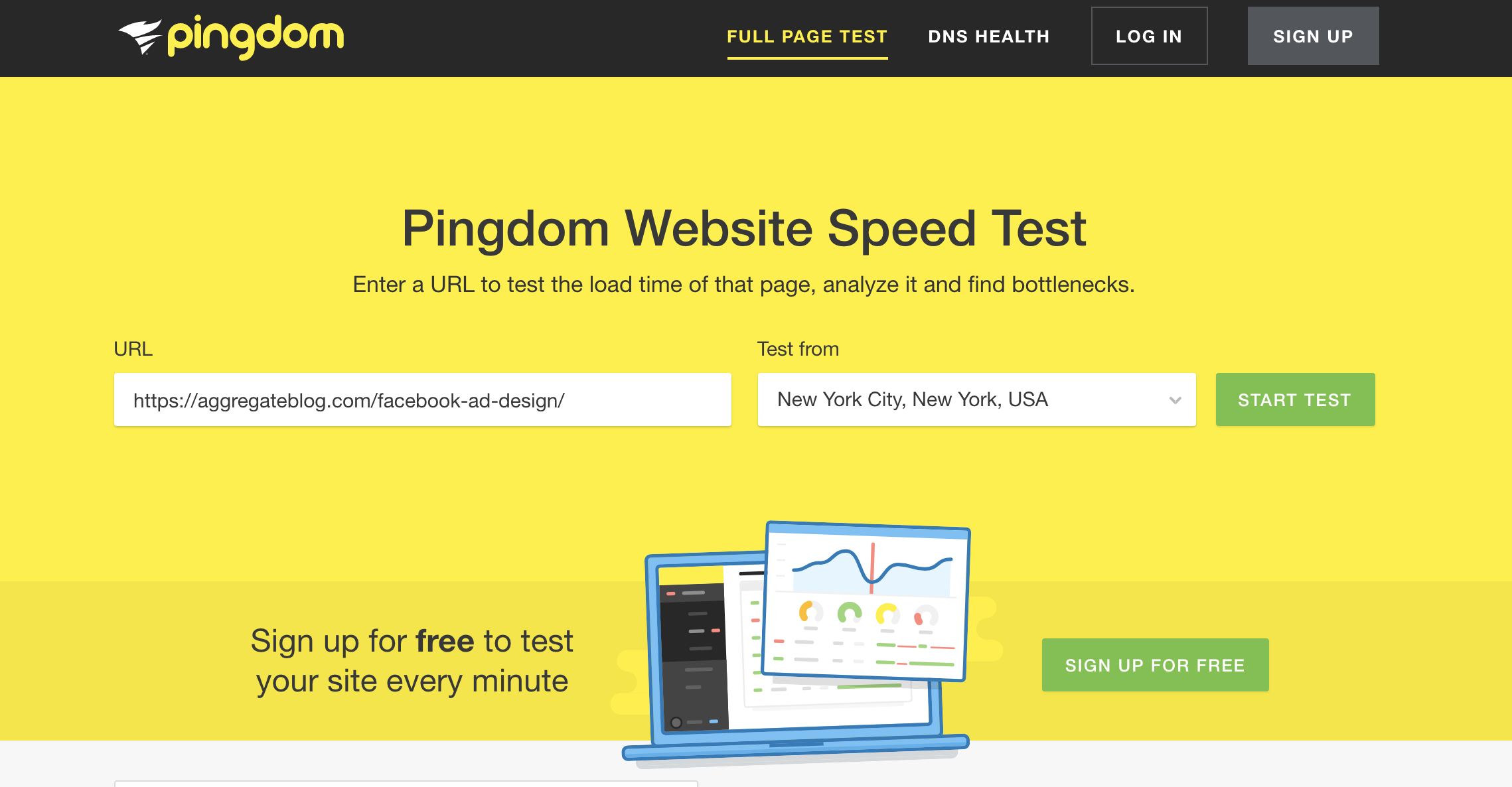 Check your page loading speed with Pingdom