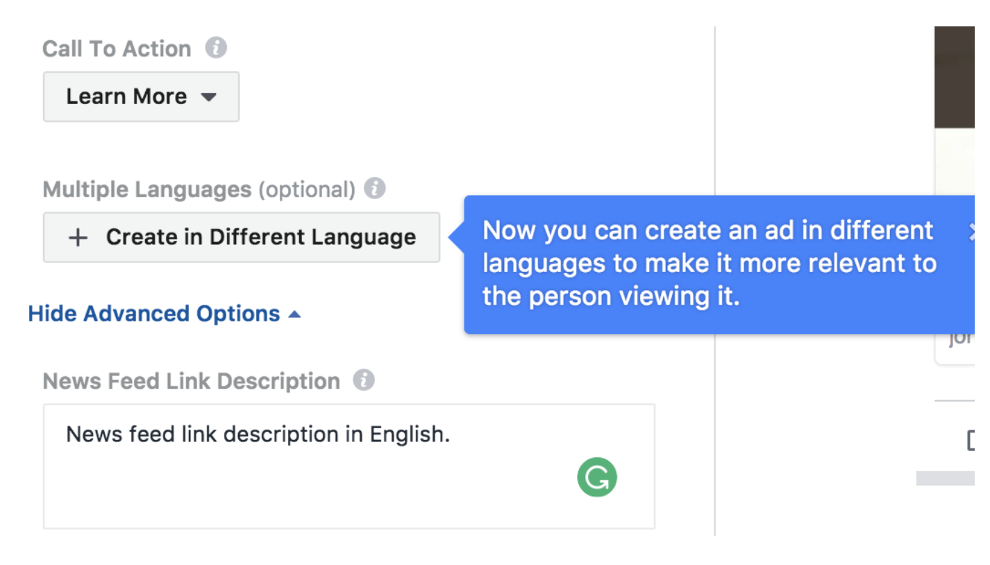 "click the ""Create in Different Language"" button"