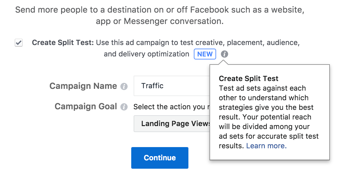 Facebook has a split testing feature