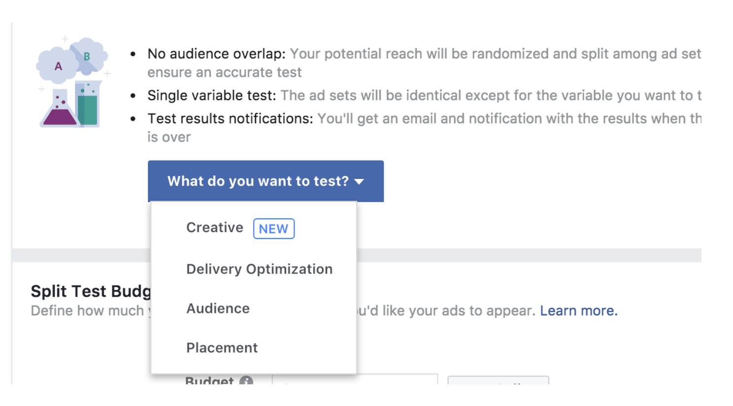 facebook creative split testing