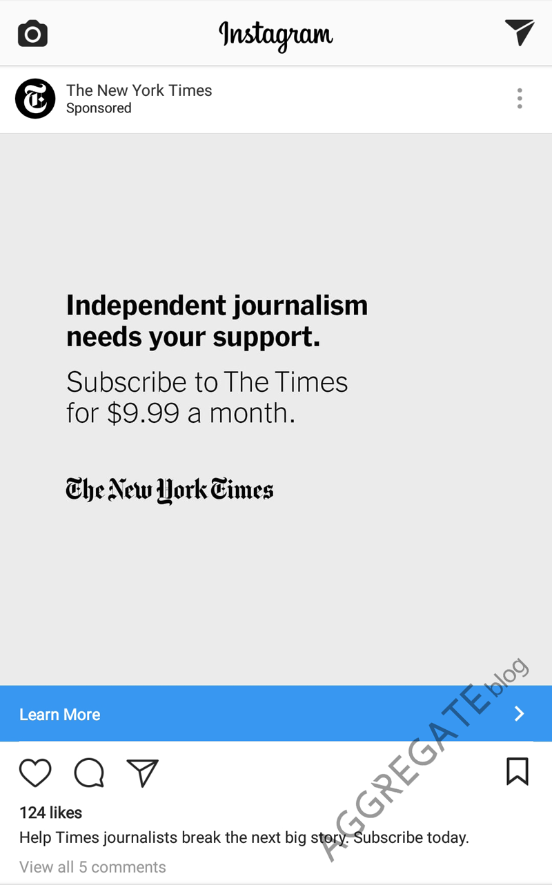 New york times instagram ad example