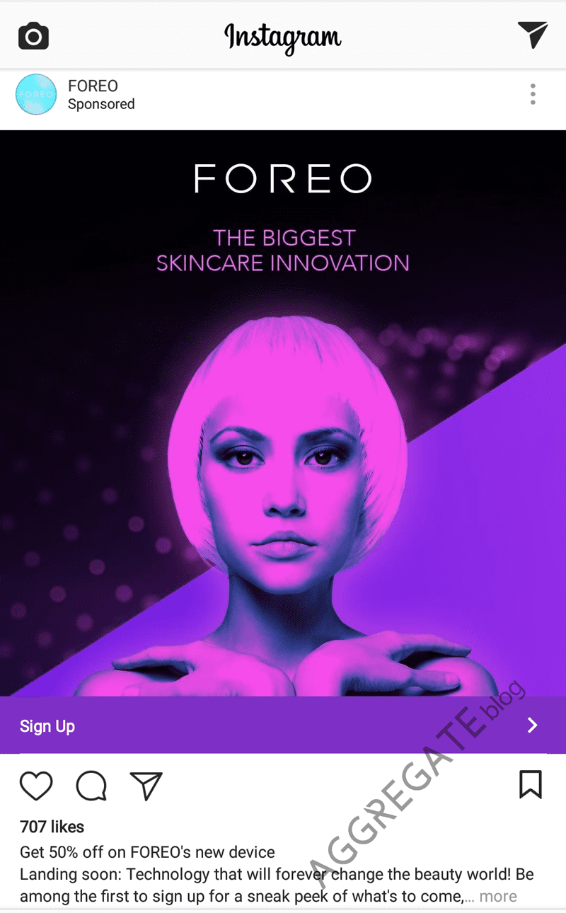 Foreo Instagram ad example