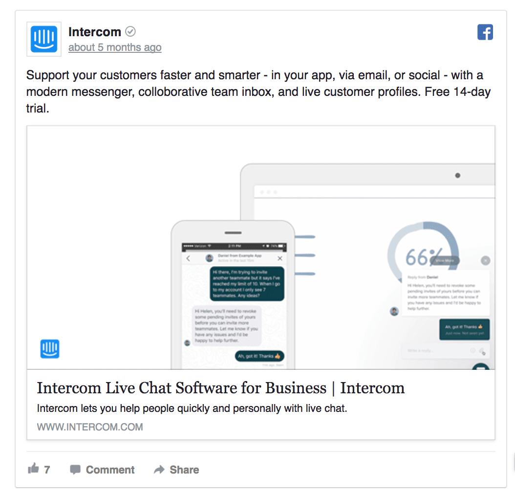 facebook copywriting example