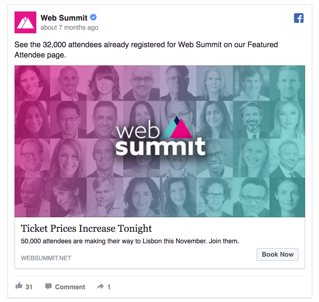 Web Summit ad example