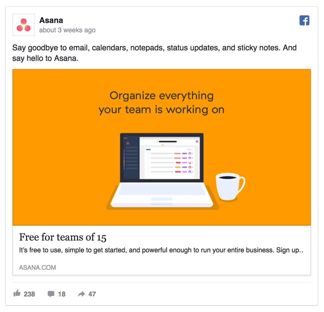 asana facebook ad