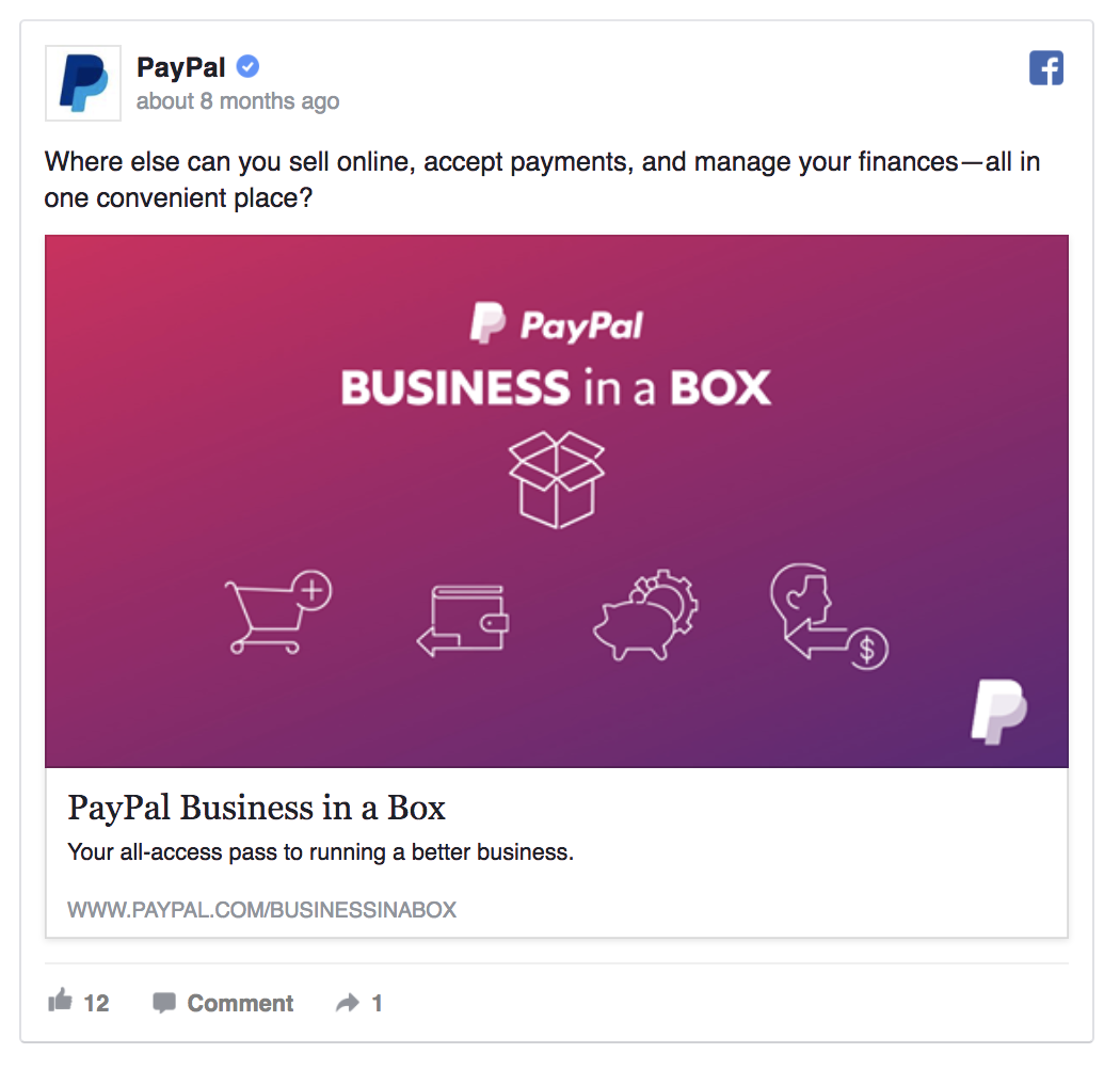 paypal facebook ad example