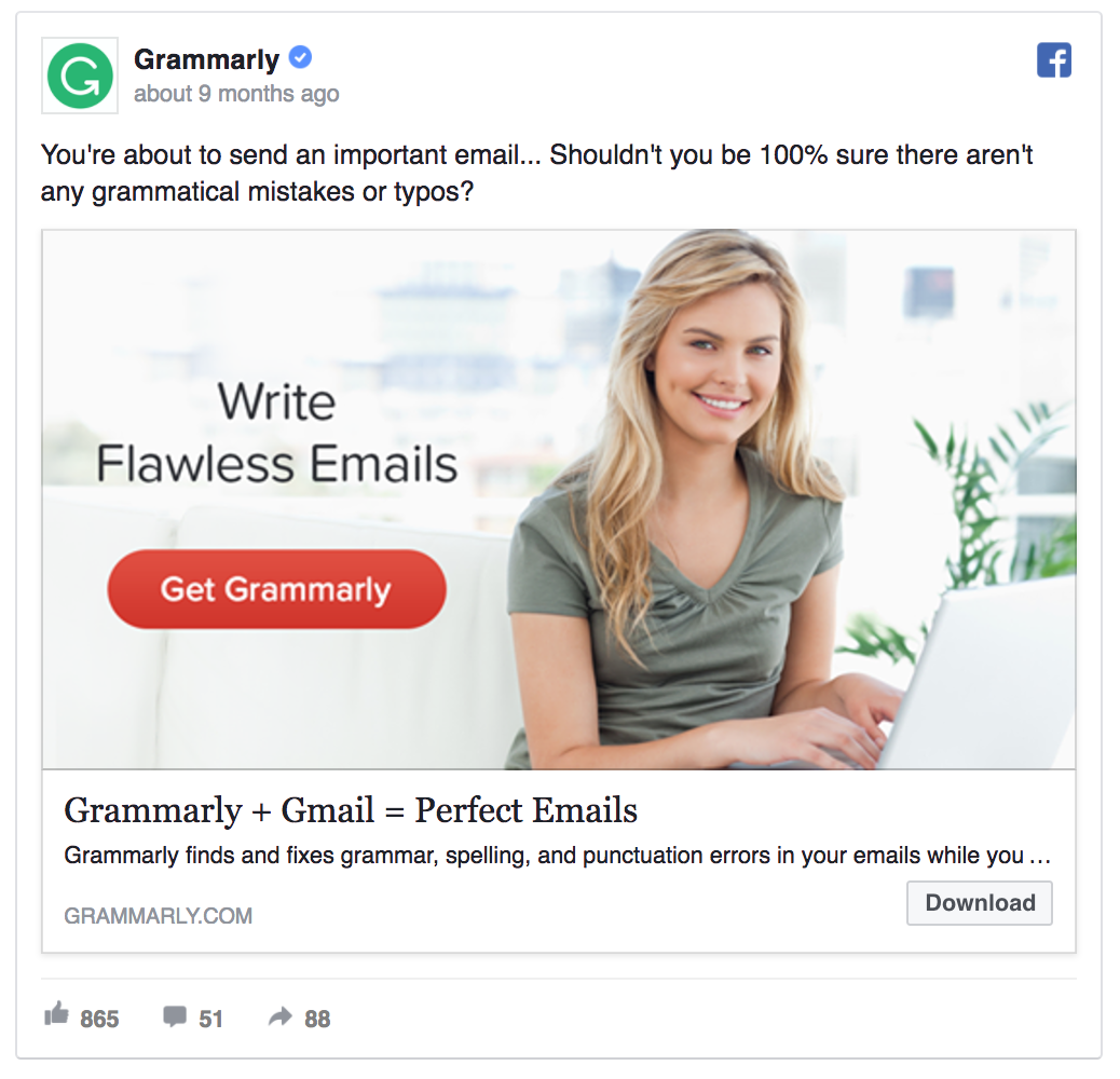Grammarly facebook ad template