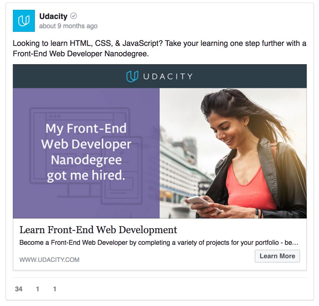 Udacity facebook ad template