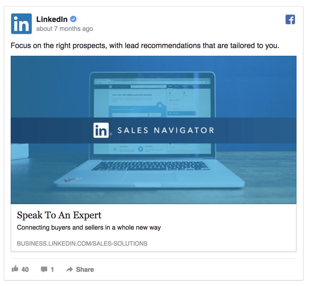 LinkedIn's ad template