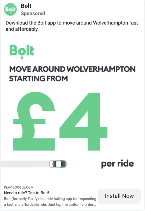 bolt facebook ad example 2
