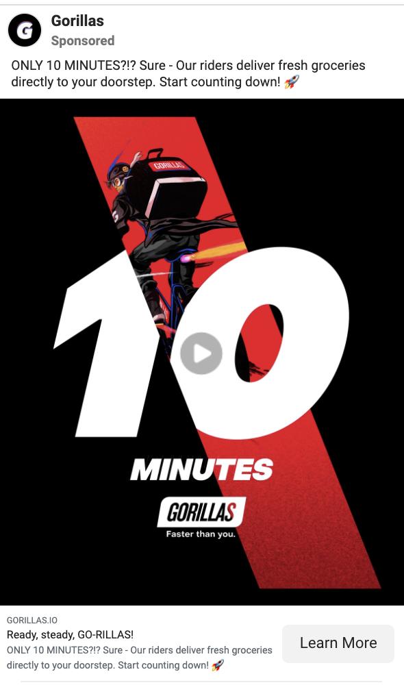 gorillas facebook ad example