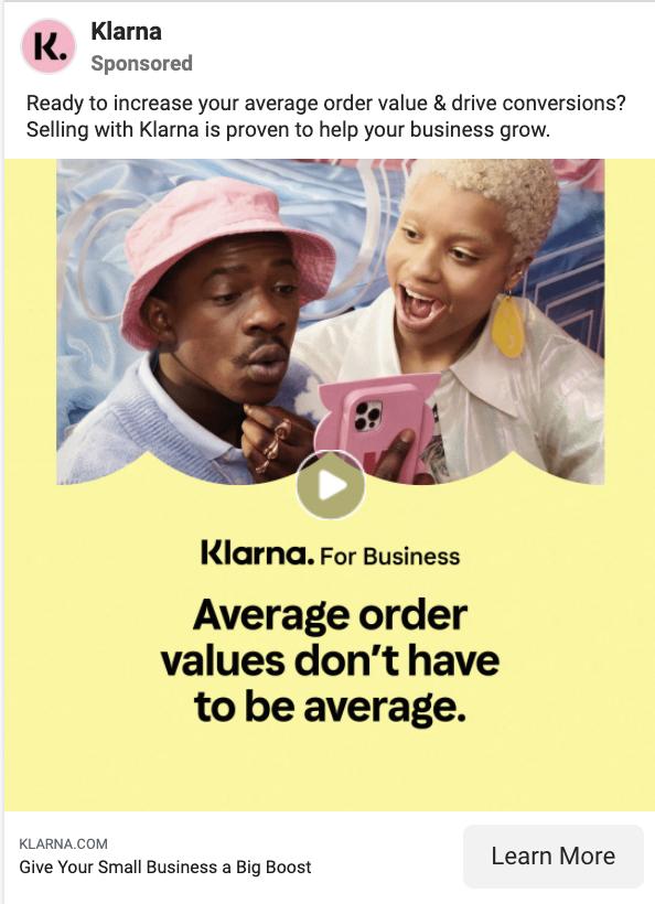 klarna facebook ad example