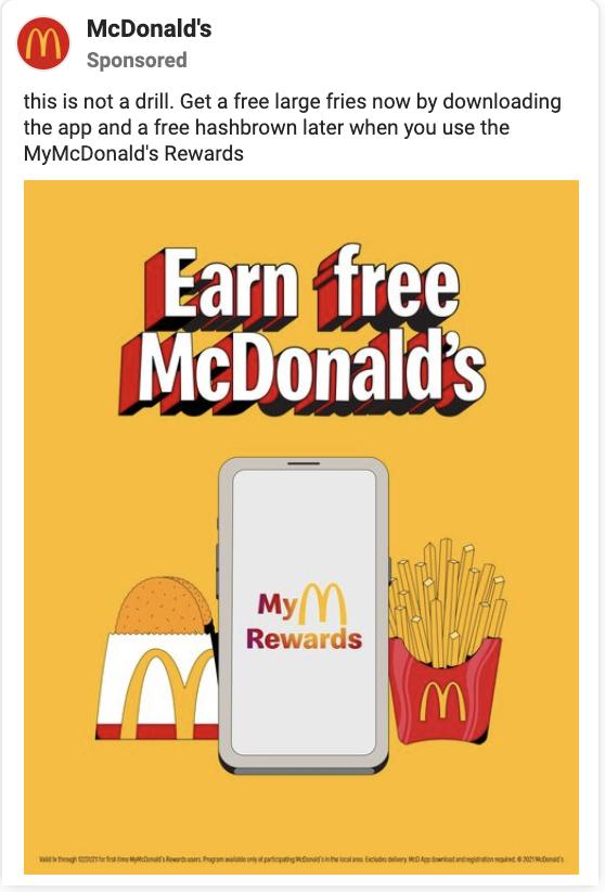 mcdonalds facebook ad example