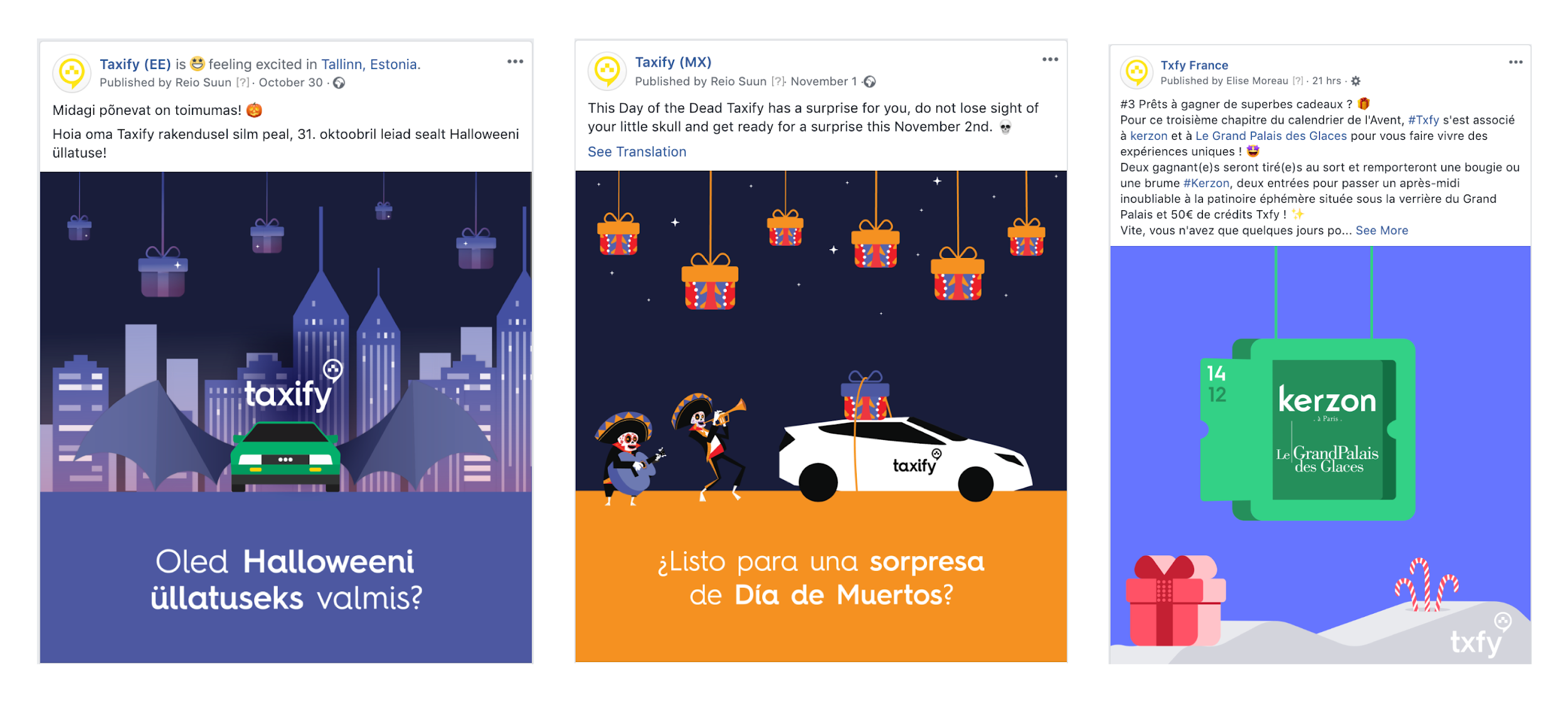 Taxify marketing campaigns from 2018