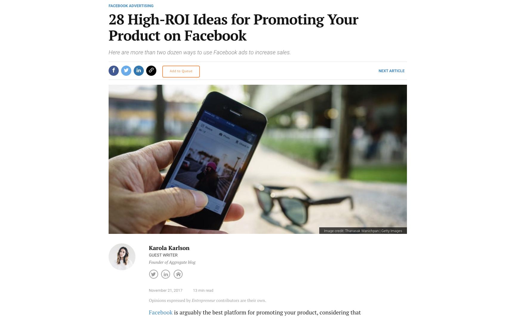 Entrepreneur article