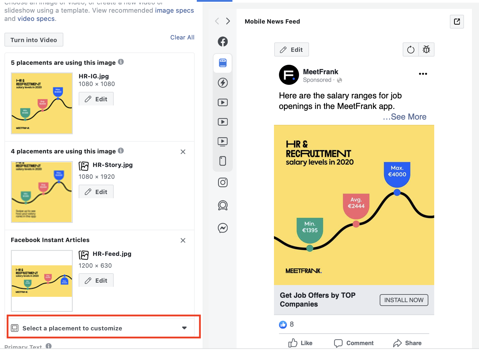 Facebook ad placement sizes