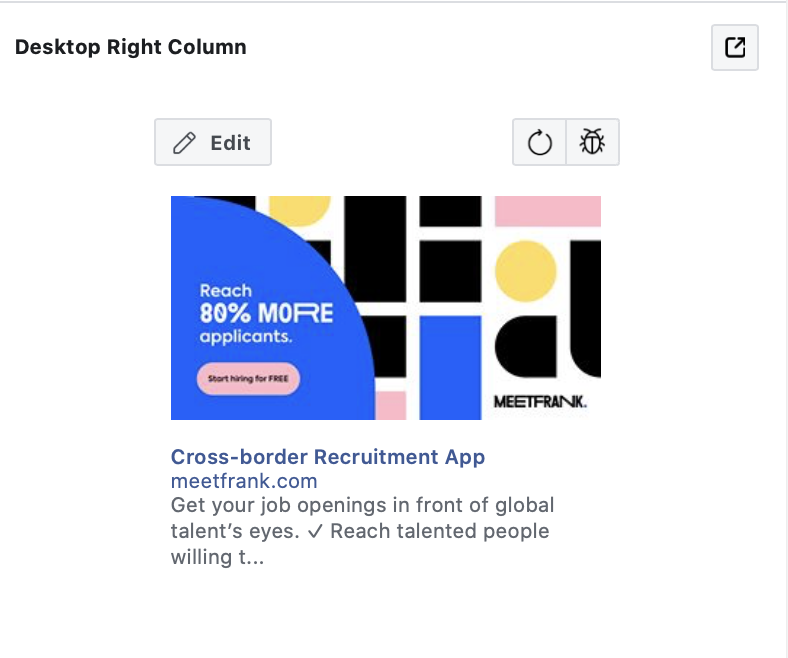 Facebook right column ad size
