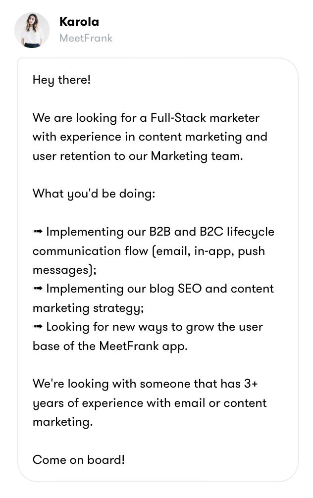 MeetFrank job offer