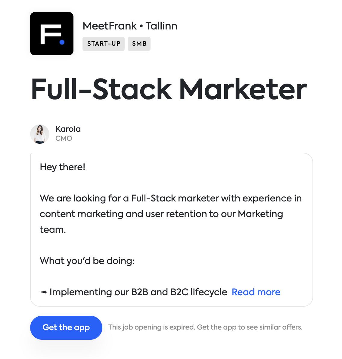Apply via the MeetFrank app