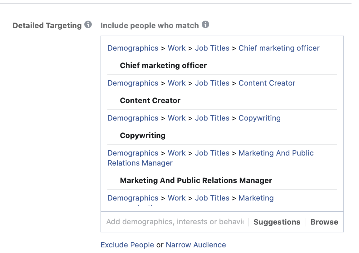Facebook ad targeting for job ads