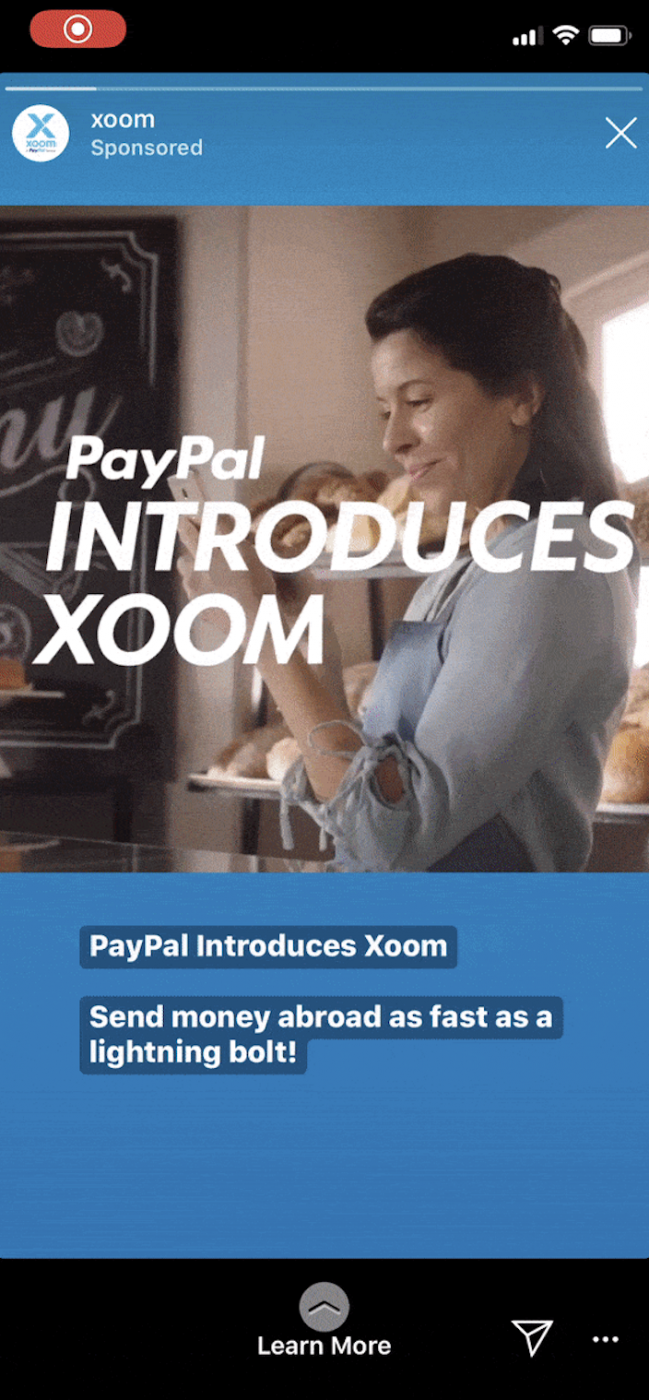 paypal instagram story example