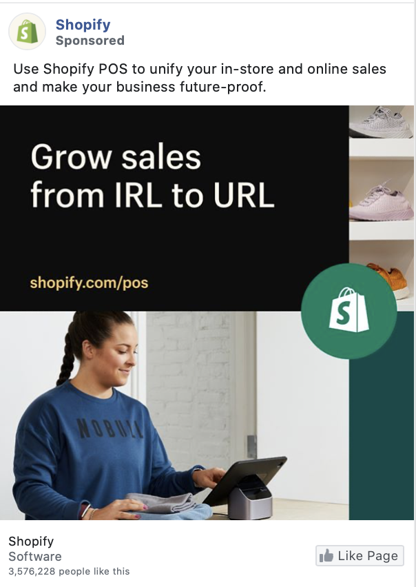 Shopify facebook ad example