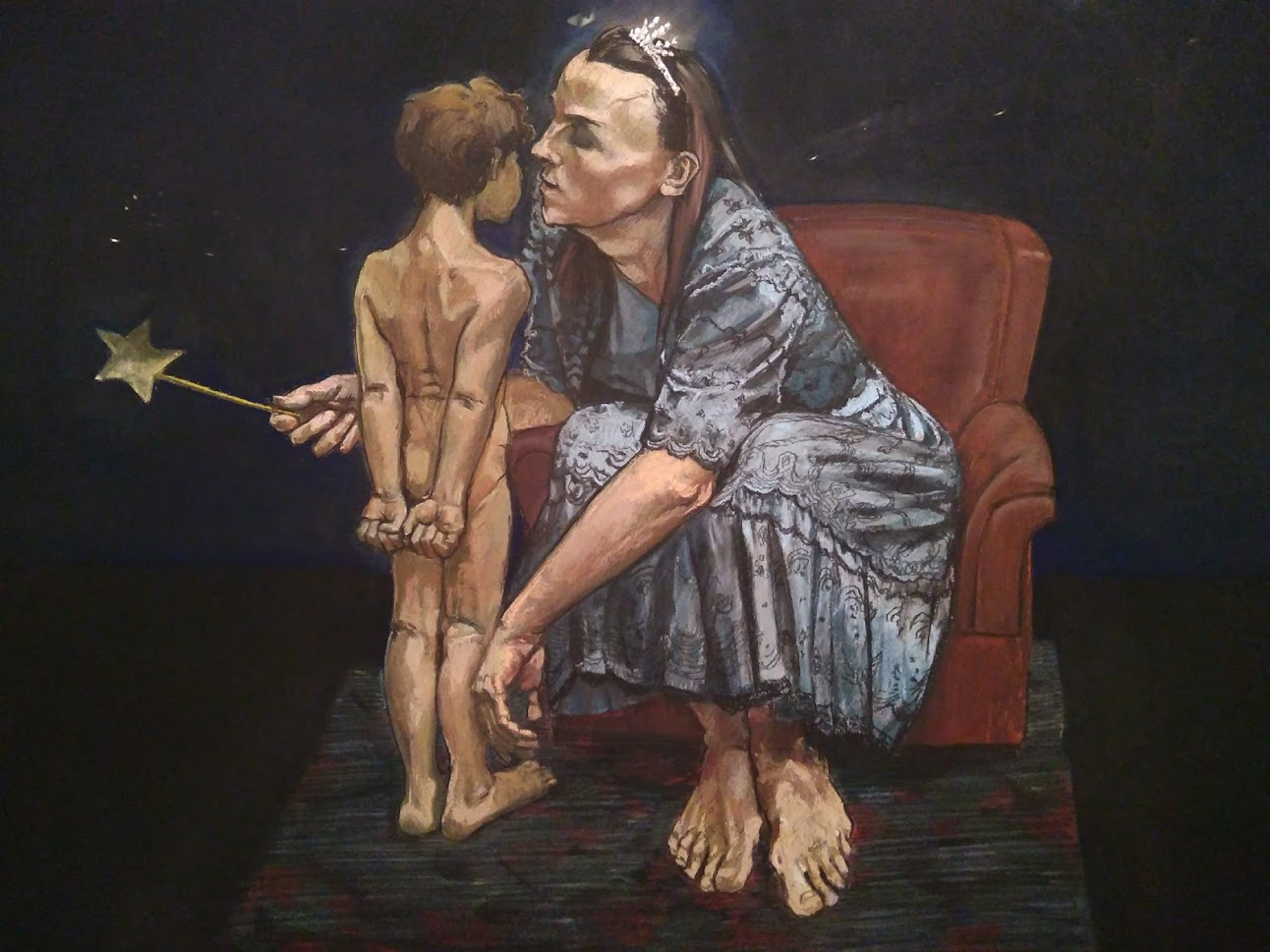 Blue Fairy Whispers to Pinocchio by Paula Rego